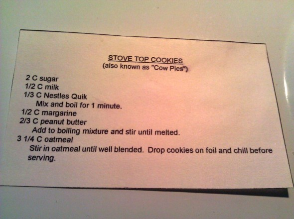 Recipe for Stove Top Cookies